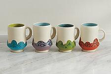 Bright Footed Mugs by Rachelle Miller (Ceramic Mug)