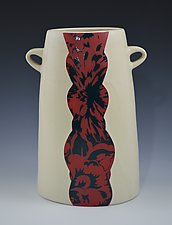 Vase with Red and Blue Flowers by Rachelle Miller (Ceramic Vase)