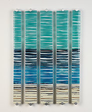 Shore Lines Pentaptych by Caryn Brown (Art Glass Wall Sculpture)