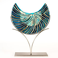 Rhythm of the Blue Moon Tides by Caryn Brown (Art Glass Sculpture)