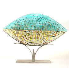 Playing in the Dune Grass - Elliptical by Caryn Brown (Art Glass Sculpture)