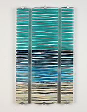 Shore Lines by Caryn Brown (Art Glass Wall Sculpture)