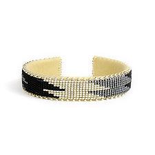 Coco Silver Glass Cuff by ETKIE (Beaded Bracelet)
