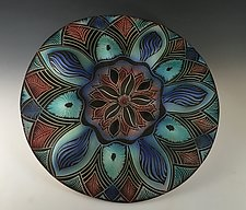 Blue Bell Mandala by Natalie Blake (Ceramic Wall Sculpture)