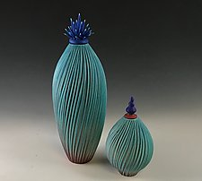 Blue Cactus Vessels by Natalie Blake (Ceramic Vessel)