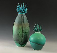 Azurite Lava Vessels by Natalie Blake (Ceramic Vessel)