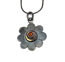 Peace Fire Buff-Top Citrine Necklace by Alexan Cerna and Gina  Tackett (Brass & Stone Necklace)