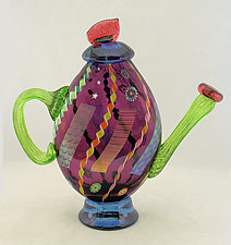 Large Amethyst Abstract Teapot by Ken Hanson and Ingrid Hanson (Art Glass Teapot)