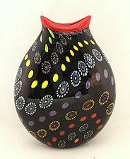 Small Black Marrakesh Vase by Ken Hanson and Ingrid Hanson (Art Glass Vase)