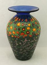 Tall Poppy Vase by Ken Hanson and Ingrid Hanson (Art Glass Vase)