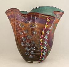 Aurora and Purple Seascape Fan by Ken Hanson and Ingrid Hanson (Art Glass Vase)