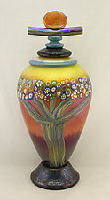 Large Mango Vines Lidded Jar by Ken Hanson and Ingrid Hanson (Art Glass Bottle)