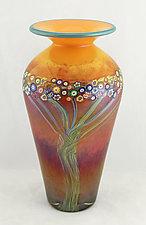 Large Peach Vines Classic Vase by Ken Hanson and Ingrid Hanson (Art Glass Vase)