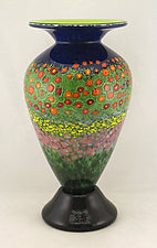Large Classic Poppy Vase by Ken Hanson and Ingrid Hanson (Art Glass Vase)
