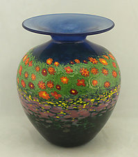 Short Poppy Vase by Ken Hanson and Ingrid Hanson (Art Glass Vase)