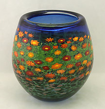 Tall Poppy Bowl by Ken Hanson and Ingrid Hanson (Art Glass Bowl)