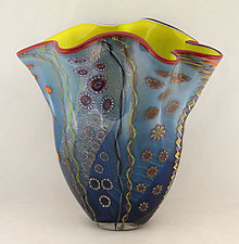 Aqua Seascape Fan by Ken Hanson and Ingrid Hanson (Art Glass Vase)