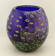 Cobalt Island Series Bowl II by Ken Hanson and Ingrid Hanson (Art Glass Bowl)