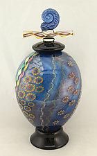 Aqua Seascape Jar with Lid by Ken Hanson and Ingrid Hanson (Art Glass Bottle)