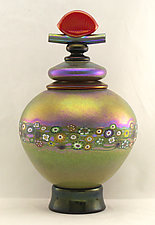 Gold Lidded Vines Vessel by Ken Hanson and Ingrid Hanson (Art Glass Vase)