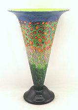 Large Poppy Trumpet Vase by Ken Hanson and Ingrid Hanson (Art Glass Vase)