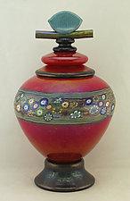 Red Lidded Vines Jar by Ken Hanson and Ingrid Hanson (Art Glass Jar)