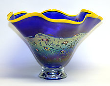 Fluted Cobalt Monet Bowl by Ken Hanson and Ingrid Hanson (Art Glass Bowl)
