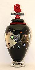 Large Black Blossom Lidded Vessel with Nautilus Lid by Ken Hanson and Ingrid Hanson (Art Glass Vase)