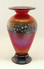Classic Red Vines Vase by Ken Hanson and Ingrid Hanson (Art Glass Vase)