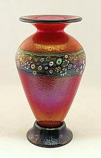 Classic Red Vines Vase by Ken Hanson and Ingrid Hanson (Art Glass Vase)