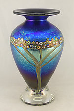 Silver Blue Classic Vines Vase by Ken Hanson and Ingrid Hanson (Art Glass Vase)