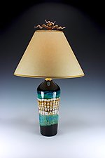 Opal Cylinder Lamp with Juniper Finial by Danielle Blade and Stephen Gartner (Art Glass Table Lamp)