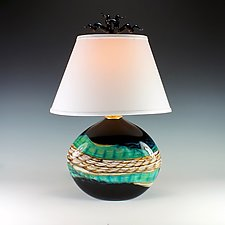 Black Opal Flat Lamp by Danielle Blade and Stephen Gartner (Art Glass Table Lamp)