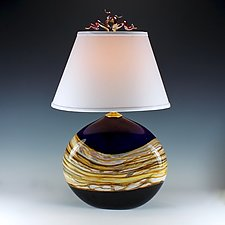 Amethyst Strata Flat Lamp by Danielle Blade and Stephen Gartner (Art Glass Table Lamp)