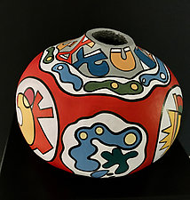 Medallions by Nadine Saitlin (Painted Gourd Vessel)