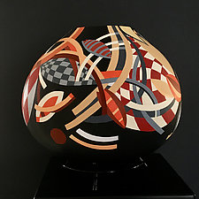 Celestial Interactions by Nadine Saitlin (Painted Gourd Vessel)