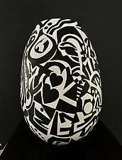 Black or White by Nadine Saitlin (Painted Gourd Vessel)
