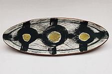 Funky Ovalish Green Tray 13 by Meg Dickerson (Ceramic Tray)