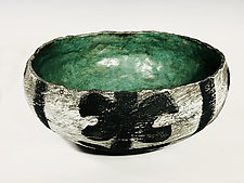 Large Primal Bowl with Turquoise Interior by Meg Dickerson (Ceramic Bowl)