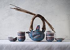 Volcanic Glaze Woven Reed Seven Piece Ceramic Tea Ceremony Set by Natalya Sevastyanova (Ceramic Teapot)
