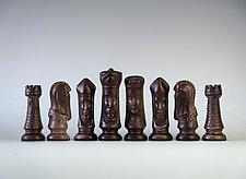 Horse Hair Fired Handmade Raku 32 Piece Chess Set III by Natalya Sevastyanova (Ceramic Sculpture)