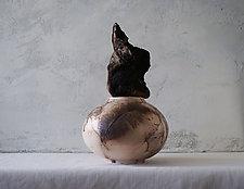 Iridescent Handmade Raku Horse Hair Fired Urn by Natalya Sevastyanova (Ceramic Vessel)