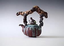Drippy Glaze with Bark Wood Texture Handmade Ceramic Teapot by Natalya Sevastyanova (Ceramic Teapot)