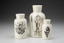 Set of 3 Jars: Sealife 2 by Laura Zindel (Ceramic Bottles)