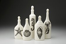 Set of 5 Bottles: Sealife by Laura Zindel (Ceramic Bottles)