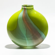 Opaque Ribbon Flat Vase in Lime, Celadon & Salmon by Michael Trimpol and Monique LaJeunesse (Art Glass Vase)