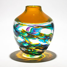 Optic Rib Helix Banded Urn by Michael Trimpol and Monique LaJeunesse (Art Glass Vessel)