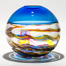 Optic Rib Helix Banded Sphere with Cerulean by Michael Trimpol and Monique LaJeunesse (Art Glass Vessel)