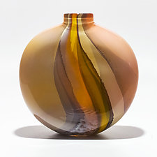 Opaque Ribbon Flat Vase in Salmon, Vanilla & Pumpkin by Michael Trimpol and Monique LaJeunesse (Art Glass Vase)