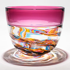 Optic Rib Helix Banded Pail in Florida with Cranberry by Michael Trimpol and Monique LaJeunesse (Art Glass Bowl)